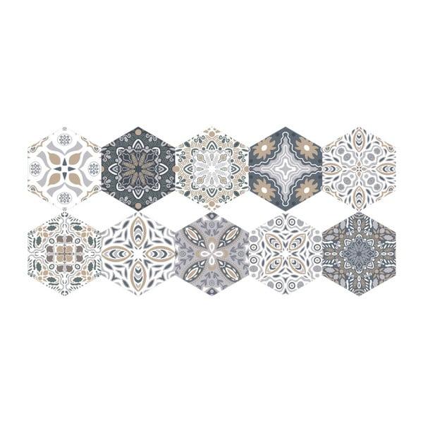 Sada 10 samolepek na podlahu Ambiance Floor Stickers Hexagons Emilana, 40 x 90 cm