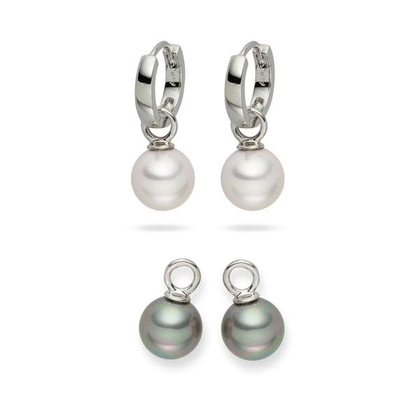 Sada 2 perlových náušnic Nova Pearls Copenhagen Catherine White/Silver