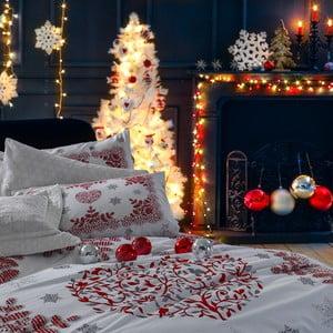 Vánoční bavlněné povlečení u na dvojlůžko s prostěradlem Giulia, 200x220cm