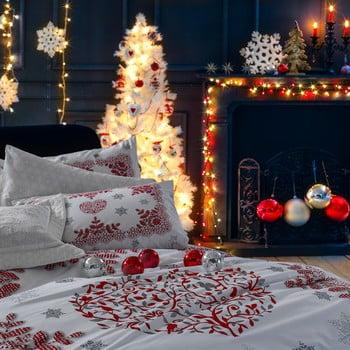 Lenjerie de pat cu cearșaf din bumbac Snowtime Red, 200 x 220 cm de la Unknown