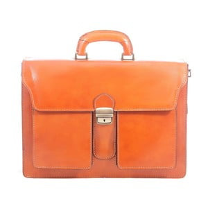 Karamelová kožená taška Chicca Borse Messenger Tan