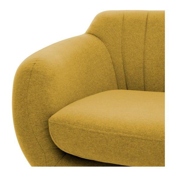 Canapea 2 locuri cu picioare negre Vivonia Kennet, galben