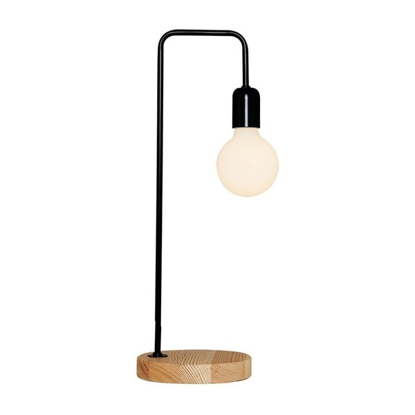 Čierna stolová lampa s dreveným podstavcom Valetta
