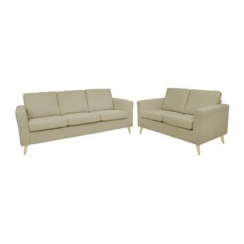 Set canapea cu 2 locuri și cu 3 locuri, cu picioarele culoare naturală, Helga Interiors Alex, bej închis