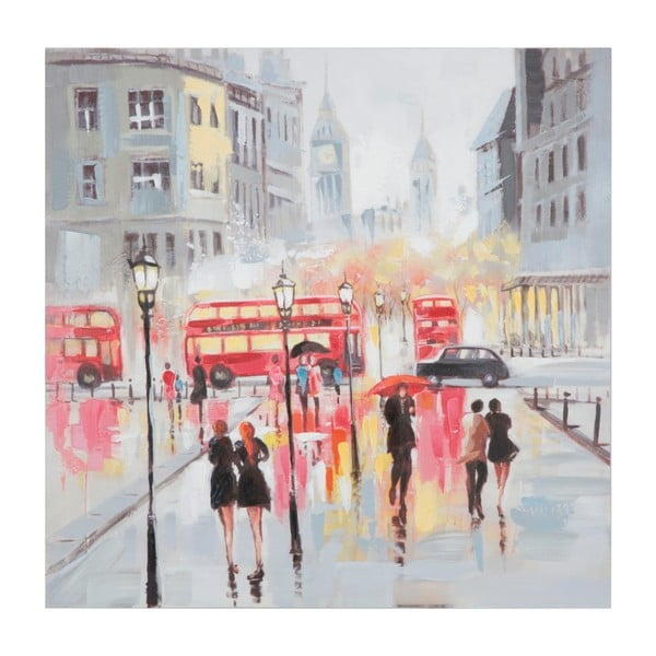 Tablou pictat manual cu ramă din lemn de pin Mauro Ferretti Rain London, 100 x 100 cm
