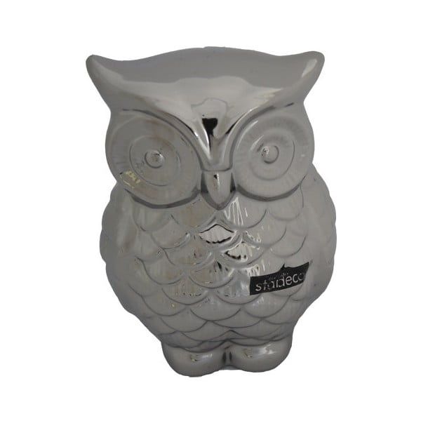 Dekorativní stříbrná sova, 16 cm