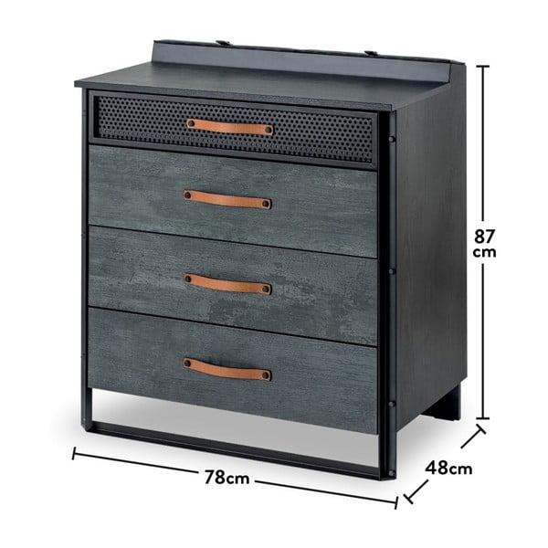 Šedá komoda Dark Metal Dresser