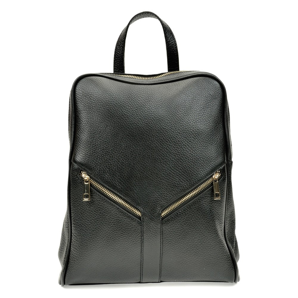 Černý kožený batoh Roberta M Linda
