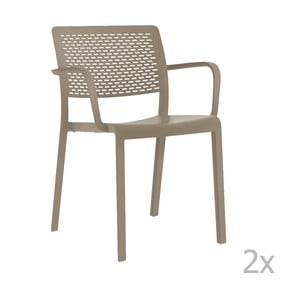 Sada 2 béžových zahradních židlí s područkami Resol Trama