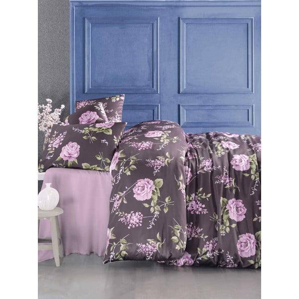Povlečení s prostěradlem Serenay Purple, 200x220 cm