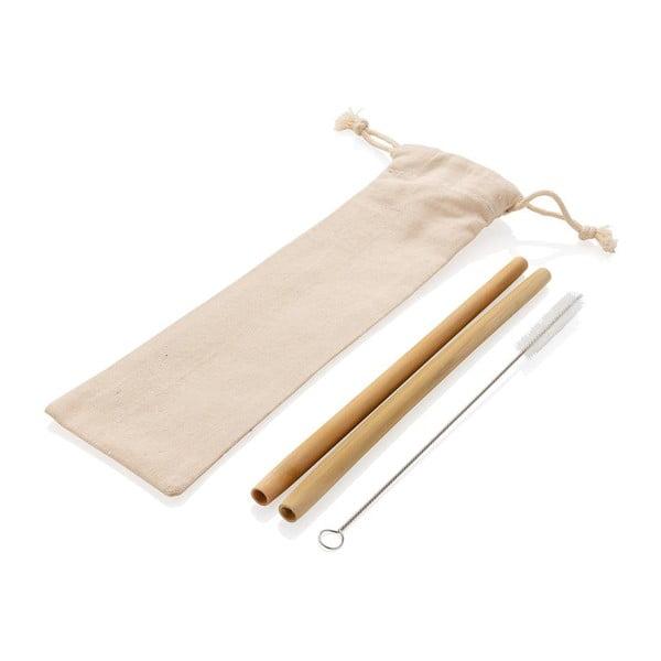 Zestaw 2 bambusowych słomek ze szczoteczką do czyszczenia i pokrowcem XD Collection