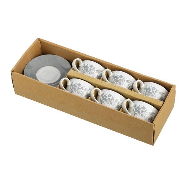 Sada 6 šedobílých šálků s podšálky Unimasa Flowers, 160ml
