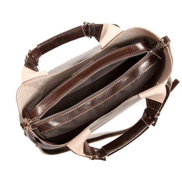 Tmavě hnědá kabelka z pravé kůže Andrea Cardone Edoardo