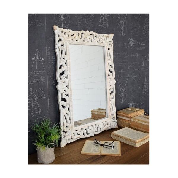 Białe lustro z drewna mango Orchidea Milano Vintage, 48x70 cm