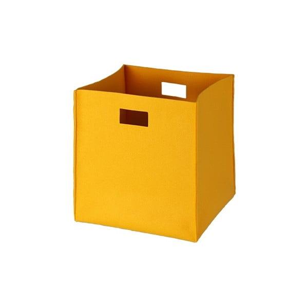 Plstěná krabice 36x35 cm, žlutá