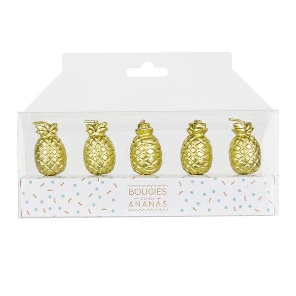 Set 5 lumânări în formă de ananas Le Studio Ananas, auriu