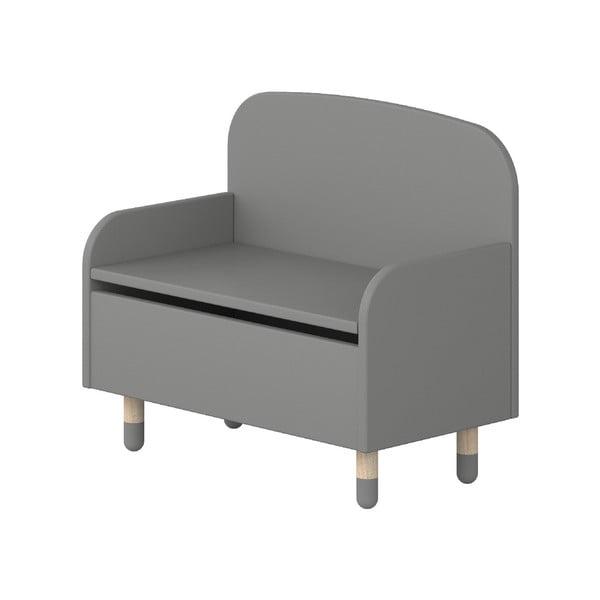 Šedá úložná lavice s opěrkou Flexa Play