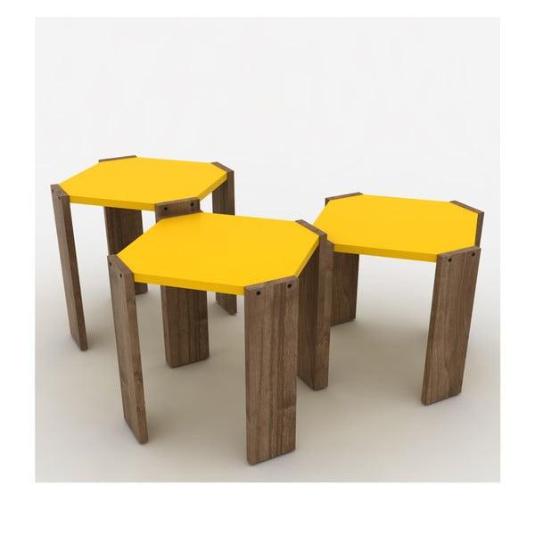 Zestaw 3 stolików z żółtym blatem Rafevi Hansel