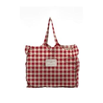 Geantă textilă Linen Couture Linen Bag Red Vichy imagine