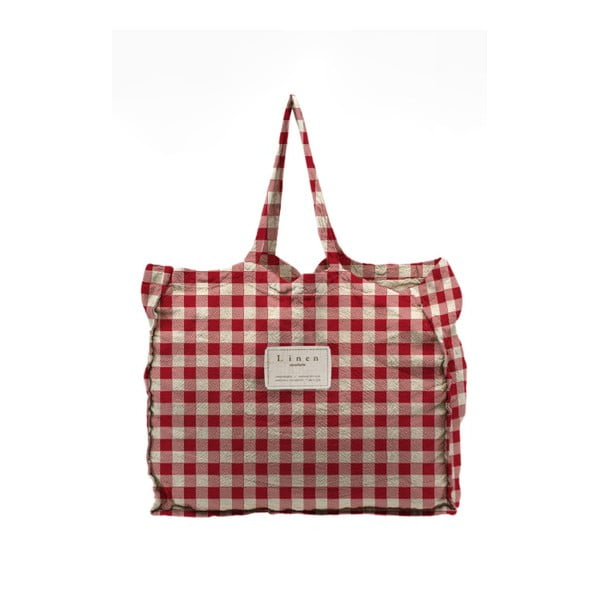 Linen Bag Red Vichy szövet táska - Linen Couture