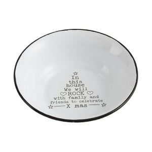 Bílá kovová miska J-Line Xmass, ⌀18cm