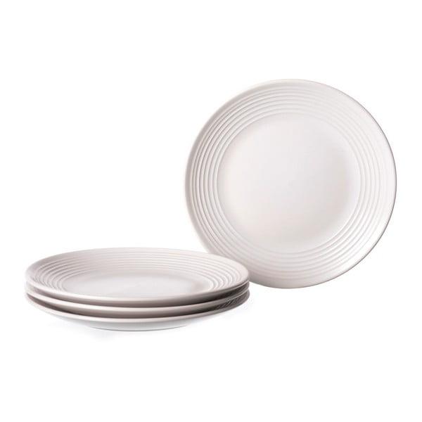 Sada 4 bílých kameninových talířů Unimasa Classic, průměr21,5cm