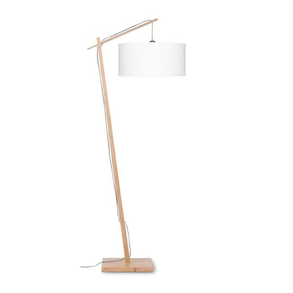 Stojací lampa s bílým stínidlem a konstrukcí z bambusu Good&Mojo Andes
