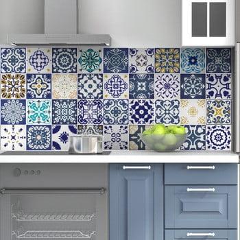 Set 60 autocolante de perete Ambiance Tiles Azulejos Cyprus, 15 x 15 cm de la Ambiance