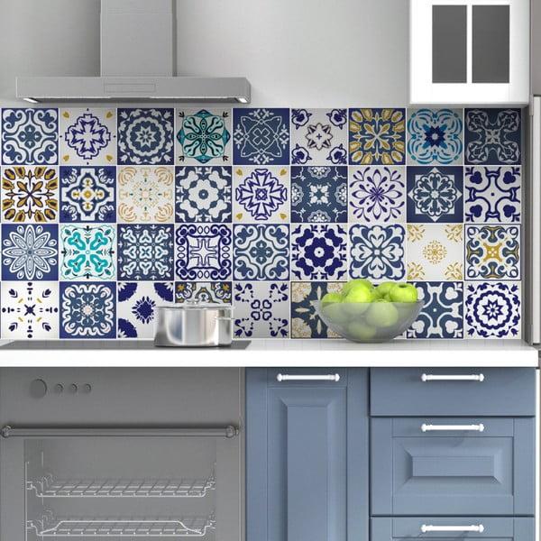 Set 60 autocolante de perete Ambiance Tiles Azulejos Cyprus, 15 x 15 cm