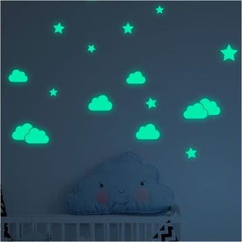Set autocolante fosforescente de perete Ambiance Clouds and Stars de la Ambiance