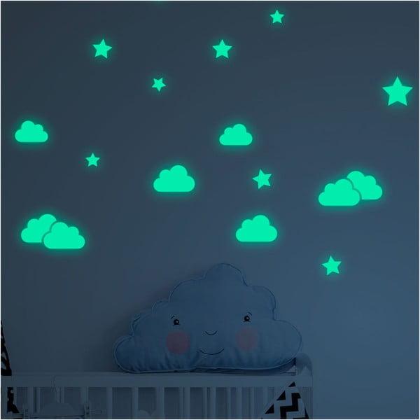 Sada nástěnných dětských svítících samolepek Ambiance Clouds and Stars