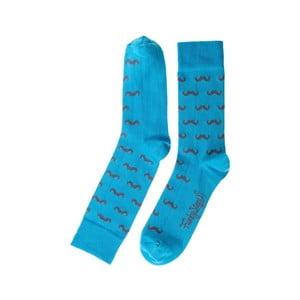 Tyrkysové ponožky Funky Steps Mustache, velikost 39 – 45