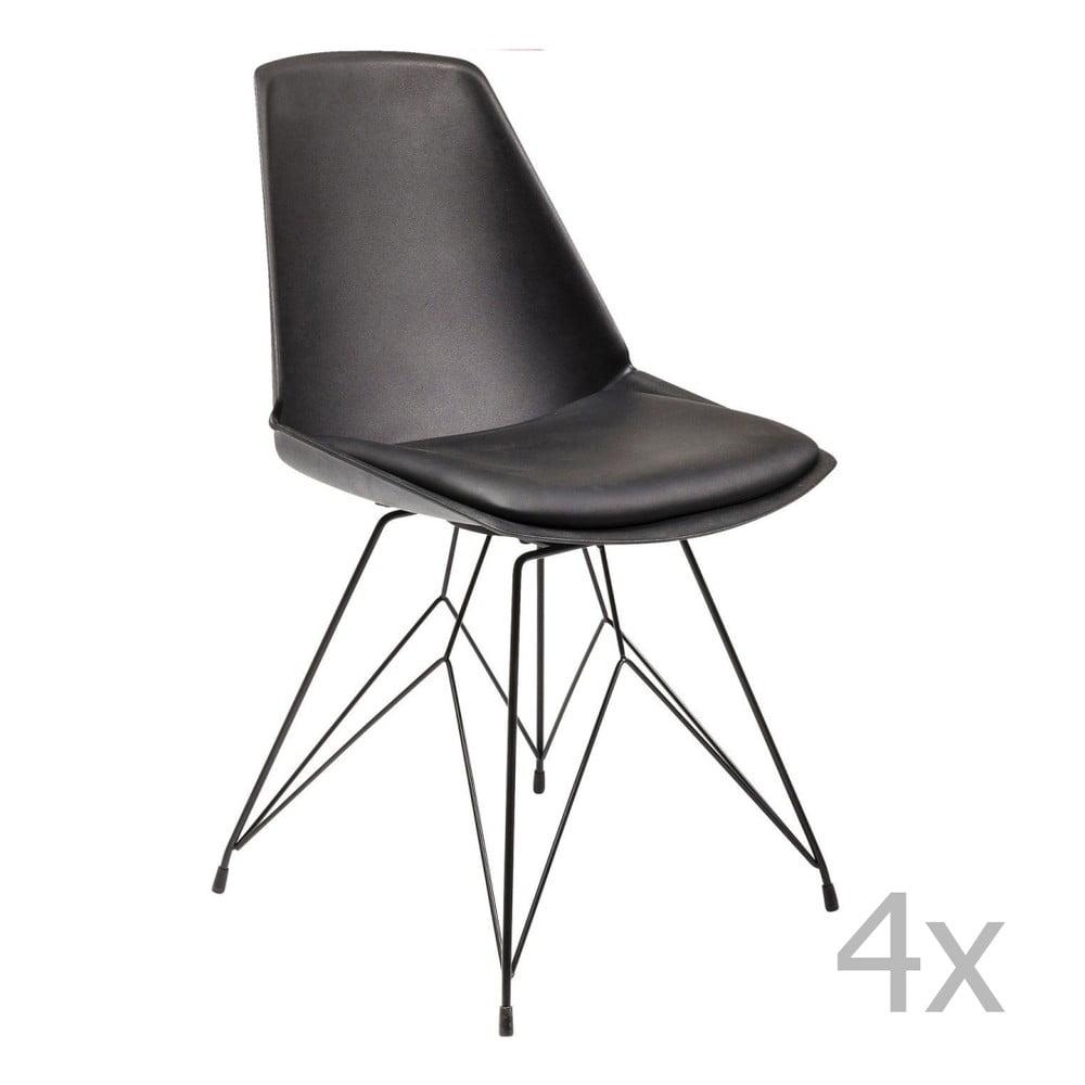 Sada 4 černých židli Kare Design Wire Black
