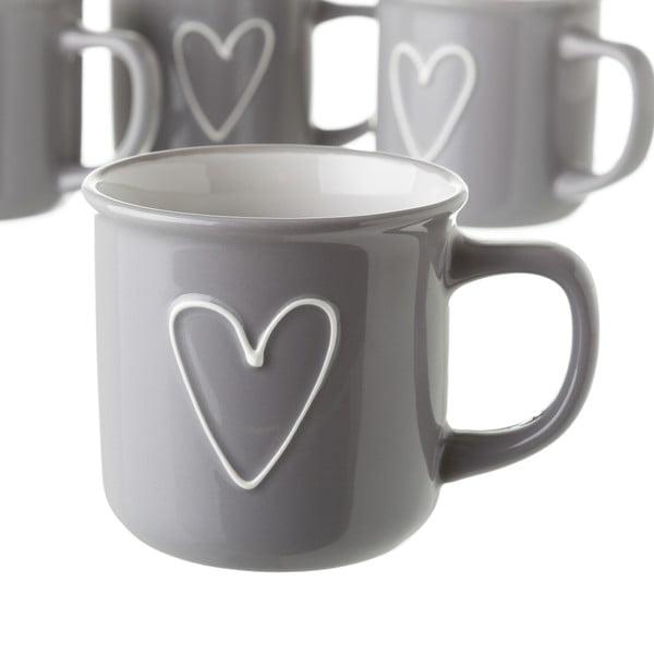 Szary kubek ceramiczny Unimasa Heart, 325 ml