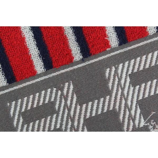 Červeno-modrý bavlněný ručník BHPC, 50x100 cm