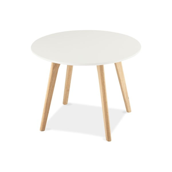 Biely konferenčný stolík s nohami z dubového dreva Furnhouse Life, Ø 60 cm