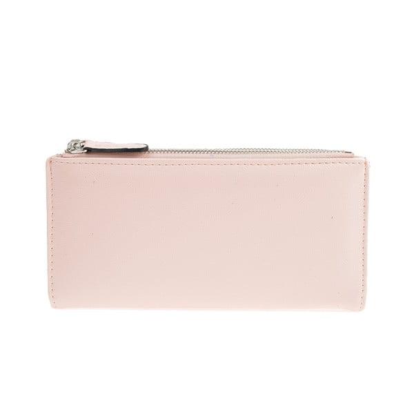 Světle růžová koženková peněženka Carla Ferreri, 10.5 x 19 cm
