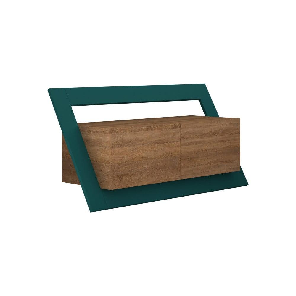 Hnědý TV stolek s tyrkysovým detailem Homitis Kayt