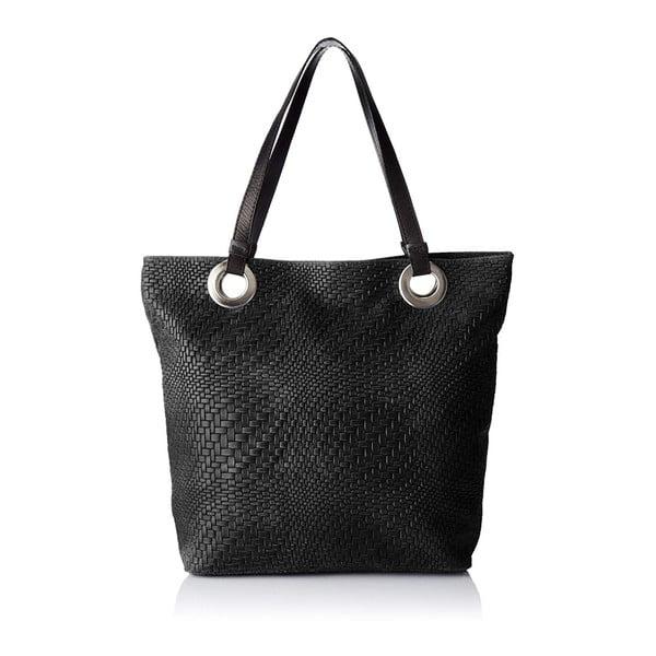 Černá kožená kabelka Chicca Borse Pagon