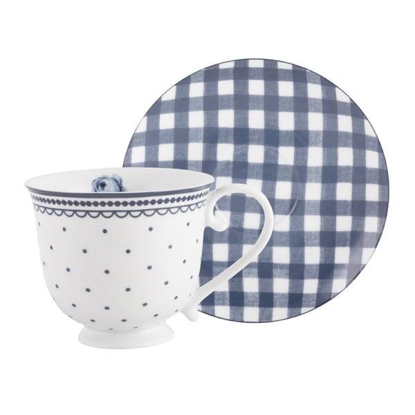 Vintage Indigo porcelán csésze csészealjjal, 200ml - Creative Tops