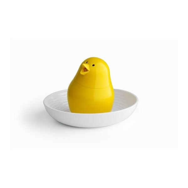 Žluto-bílý set stojánku na vajíčko s miskou Qualy&CO Jib-Jib Shaker