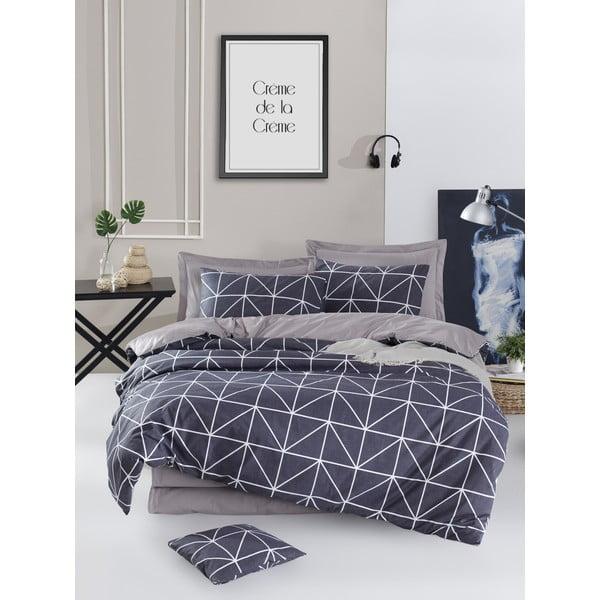 Lenjerie de pat din bumbac ranforce pentru pat de 1 persoană Mijolnir Gina Anthracite, 140 x 200 cm