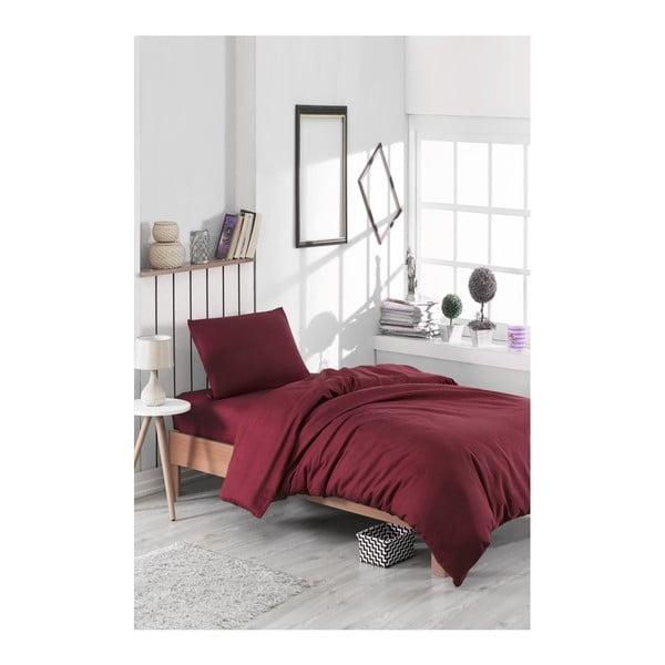 Lenjerie din bumbac pentru pat de o persoană Puresso Panteja, 140 x 200 cm, roșu