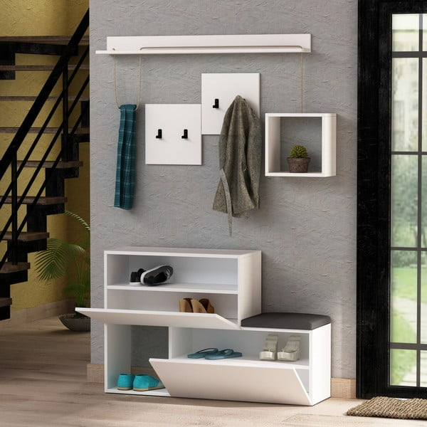Set pantofar/bancă, raft și cuier de perete Homitis Holdon Anique, alb