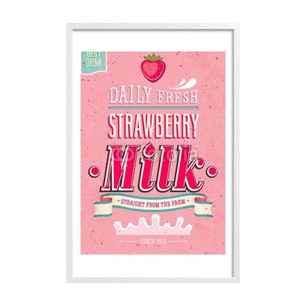 Zarámovaný plakát Strawberry Milk, bílý rám