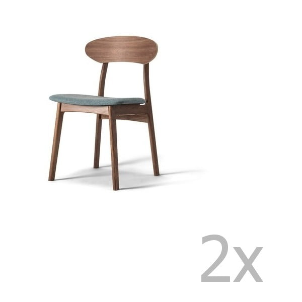 Sada 2 jídelních židlí z masivního ořechového dřeva s šedým sedákem WOOD AND VISION Tribe