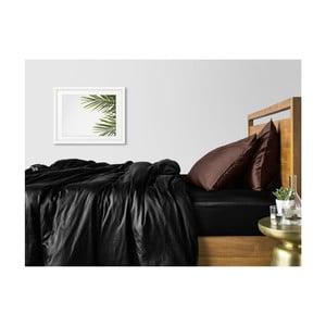 Sada 2 černo-hnědých bavlněných povlečení na jednolůžko s černým prostěradlem COSAS Lago, 160 x 220 cm