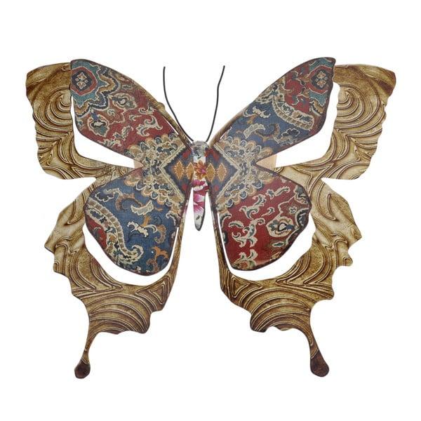 Kovový motýl na zeď Copper, 29 cm