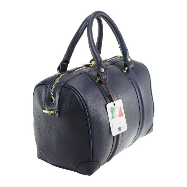 Modrá kožená kabelka Boston