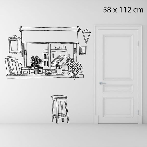 Samolepka Coffee Window, 58x112 cm